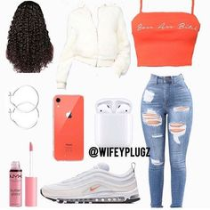 Swag Outfits For Girls, Cute Swag Outfits, Teenage Girl Outfits, Cute Comfy Outfits, Cute Outfits For School, Stylish Outfits, Teenage Clothing, Baddie Outfits Casual, Boujee Outfits