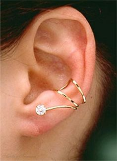 Gold Vermeil Left Or Right Pierceless Cubic Zirconia Eye Band Ear Cuff Wrap