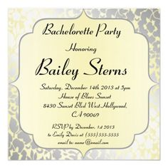 Formal Yellow Metallic Bachelorette Party Custom Announcements