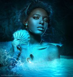 Queen of the sea. Yemanjá is a Orixá, a power of nature from african mithology and some religions. She is from the sea, the mother, the mermaid. model from ~dtroyt Waves ~GreenEyezz-. Ancient Goddesses, Gods And Goddesses, Black Artists, Modern Artists, Oshun Goddess, Goddess Art, Deviantart Fantasy, Dark Tide, Great Works Of Art