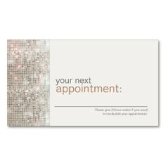 Modern and Hip Business Sequin Salon Appointment Card - click to personalize
