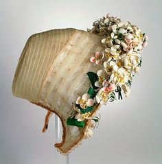 Wedding bonnet with artificial orange blossoms, 1863.
