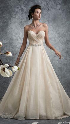 sophia tolli fall 2017 bridal strapless sweetheart neckline wrap over bodice romantic elegant champagne color a  line wedding dress chapel train (12) mv -- Sophia Tolli Fall 2017 Wedding Dresses