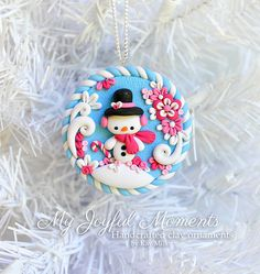 Handcrafted Polymer Clay Winter Snowman Ornament