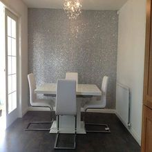 Glam Interiors On Instagram Silver Glitter Wall Glitterwall Glitterwallpaper Glitter Wallpaper Bedroom Glitter Bedroom Bedroom Diy
