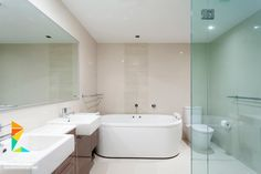 modern master bedroom en suite bath with two sinks claw tub and glass shower - Modern Master Suite Bathroom