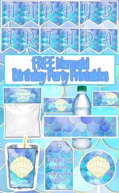 Free under the sea mermaid birthday party printable files cupcake toppers invitations banner juice pouch labels thank you tags food labels candy bag labels free printable unicorn invitations party signs and more! Mermaid Birthday Party Decorations Diy, Mermaid Party Food, Birthday Party Invitations Free, Mermaid Theme Birthday, Little Mermaid Birthday, Little Mermaid Parties, Birthday Party Themes, Mermaid Party Invitations, Birthday Ideas