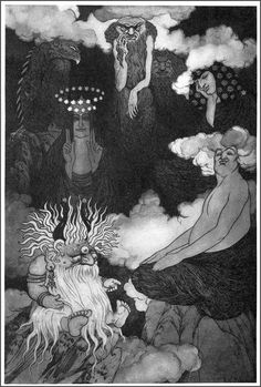 Sidney Sime - Lo! The Gods! An illustration for Lord Dunsany's Time and the Gods. 1909