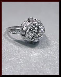 Antique Vintage Platinum Art Deco Old European Cut Diamond Wedding Engagement Ring by AntiqueJewelryNyc on Etsy