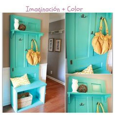 Need an idea to decorate your home's entryway? The best would be having a bench, a few storage shelves and a coat rack right? You can make all these by giving a little makeover to an old door. To make a hall tree you have to attach a rectangle of … Recycled Door, Repurposed, Diy Casa, Old Doors, Front Doors, Home Projects, Diy Furniture, Diy Home Decor, Home Improvement