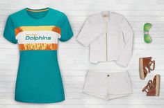 Pair #NFL #Dolphins blue with crisp white jacket and shorts for the perfect night out in #Miami #NFLStyle