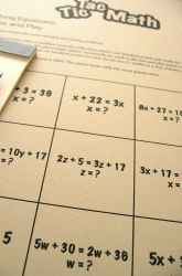 "Tic-Tac-Toe Equations & Inequalities  Algebra is an important part of every middle school student's math work. Try a new approach to working with variables and equations as you play these Tic-Tac-Toe games. Practice is essential in order to master any skill, and this activity is a fun way to go about it! Scroll down to the ""Terms to Know"" information and ""Math Review"" at the bottom of the page for help."
