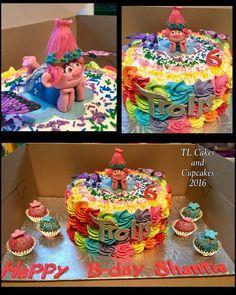 Trolls Birthday Party, Troll Party, Birthday Cup, 6th Birthday Parties, Birthday Celebration, Birthday Ideas, Bolo Trolls, Trolls Cakes, Cupcakes