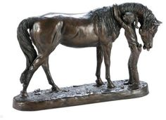 SCULPTURE STATUE EQUESTRIAN TRADITIONAL LITTLE GIRL AND HER LOVING HORSE