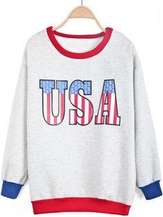 Grey Long Sleeve USA Print Contrast Trims Sweatshirt - Sheinside.com