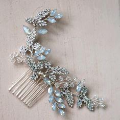 Blue opal and crystal hair comb-your wedding veil store Bridal Comb, Hair Comb Wedding, Wedding Hair Pieces, Wedding Veils, Bridal Headpieces, Hair Accessories For Women, Bridal Hair Accessories, Bridesmaid Headpiece, Wedding Headdress