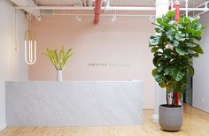 The large entryway at the Loeffler Randall officedoubles as a yoga studio for theteam on Tuesday nights.