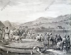 Inhabitants of Langle Bay today Tomari Bay, Sakhalin Island, engraving from an account of the voyage by Jean-Francois de Galaup de La Perouse (1741–1788) between 1785–1788. Russia, 18th century.
