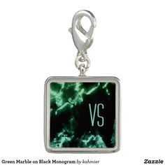 Green Marble on Black Monogram Charm