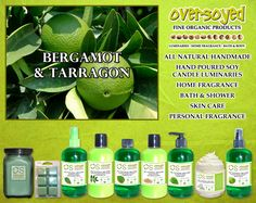 Bergamot & Tarragon Product Collection - A truly spectacular spa-like fragrance with top notes of tarragon leaves, grapefruit and lime; followed by middle notes of bergamot and jasmine; well rounded with base notes of oakmoss and bamboo. #OverSoyed #BergamotTarragon #ExoticFruits #Exotic #Fruity #Fruit #Candles #HomeFragrance #BathandBody #Beauty