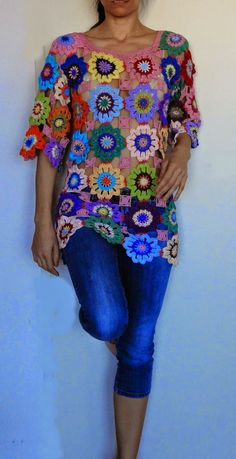 Knitting Patterns Sweter Crochet hippie retro vintage style boho gypsy floral by GlamCro Point Granny Au Crochet, Poncho Au Crochet, Crochet Jacket, Freeform Crochet, Crochet Blouse, Crochet Motif, Crochet Flowers, Crochet Stitches, Crochet Hippie