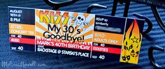 Rocker Party INVITE - KISS my (30s) Goodbye - great for milestone birthdays - looks like concert ticket via Eye Candy Event Details #kissbirthday #rockerbirthday #adultbirthdayidea #rockon #rockerparty