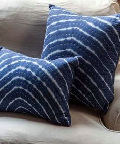"""- Indigo Tie-Dye Pillow with Kantha Stitch - 18"""" x 18"""" - tie die print front and indigo linen back - invisible zipper enclosure - down insert included"""