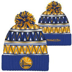 Golden State Warriors Mitchell & Ness Partial Logo Tribal Hi 5 Pom Knit Royal/Gold/Red