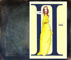 Gemini fashion illustration Greeting Card by MedusasEmporium2