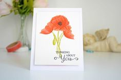 Inspired by Stamping, Joanna Munster, FOTM Poppies stamp set, floral card, thinking of you card