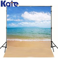 Buy discount Kate Sea Beach Summer Holiday Children Photography Backdrops Water waves holiday photo for children Blue Sky Photography, Photography Backdrops, Beach Backdrop, Beach Background, Wedding Props, White Clouds, Water Waves, Photo Backgrounds, Holiday Photos