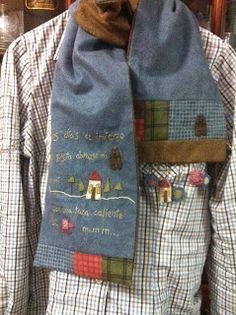 Mi baúl de Punto de Cruz: Cold Winter Scarves de Hatched and patched – I can do that! Artisanats Denim, Anni Downs, Denim Crafts, Applique Fabric, Yarn Thread, Scarf Design, Sewing For Kids, Handmade Clothes, Fabric Scraps