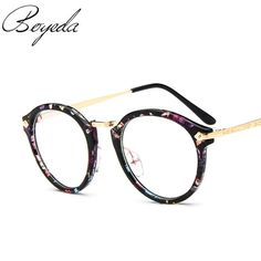 Brand Women Round Oval Eyeglasses Glasses Frames High Grade Light Weight Solid Color Spectacles Man Glasses Vintage Retro Design