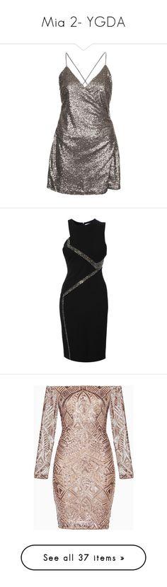 """Mia 2- YGDA"" by inestrindade on Polyvore featuring dresses, vestidos, gunmetal, sequin wrap dress, wrap style dress, strap dress, wrap dress, wrap cocktail dress, versace and asymmetric bodycon dress"