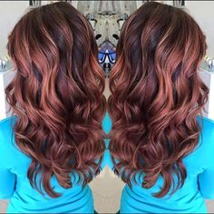 Shades of violet red, red copper and chocolate blonde