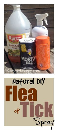 Do It Yourself Natural Flea and Tick Spray Recipe  To make this natural flea and tick home remedy, grab a spray bottle (I reused one). Then, in a spray bottle, mix the following ingredients:      8 oz. apple cider     4 oz. water     1/2 tsp. iodized salt     1/2 tsp. baking soda  To use: shake up bottle and spray on pet. Brush through fur. Please note: You'll still want to check regularly for pests, fleas and ticks and remove any you might find promptly.