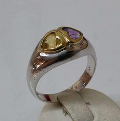 925er+Silber+Herzring+Amethyst+/+Citrin+Herz+SR470+von+Atelier+Regina++auf+DaWanda.com