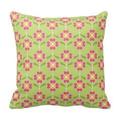Simple Retro Floral Pattern Pink Flowers On Lime Throw Pillow - Green Throw Pillows