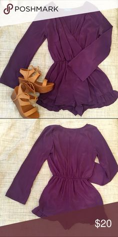 Deep V purple romper with ruffle detail Using the brand for exposure! How cute is this deep purple romper?!  A ruffled edge on the shorts adds a feminine touch to this already super sexy romper with a slight bell sleeve. Shorts are lined and material is a sort of matte satin fabric. Perfect to throw on with wedges for a night out! Worn once. Pants Jumpsuits & Rompers