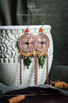 Handmade Ethnic etched copper earrings. Green jasper, serpentine, agate, garnet