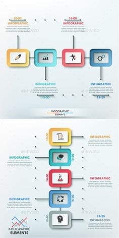 Modern Infographic Paper Timeline Items) by Andrew_Kras Modern infographic process template with paper shapes on dark path for 4 and 5 steps in two versions (vertical and horizontal). Slide Design, App Design, Layout Design, Infographic Template Powerpoint, Presentation Design, Paper Presentation, Timeline Design, Creative Infographic, Information Design