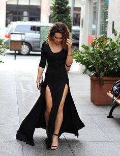 Dress: black dress, slits, bodycon dress, maxi dress, black, maxi skirt with slits, slit dress - Wheretoget
