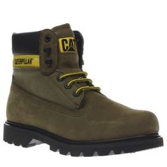 Cat-footwear Khaki Colorado Work Mens Boots Recognised across the globe, the CAT Footwear Colorado continues to be an iconic silhouette in the boot department. The Work arrives in khaki nubuck with fabric panels for an outdoorsy vibe. A padded  http://www.MightGet.com/january-2017-13/cat-footwear-khaki-colorado-work-mens-boots.asp