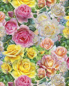 Scenic Views - Rose Bouquets - Pastel - DIGITAL PRINT