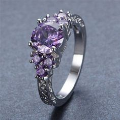 Amethyst Ring White Gold Filled - AtPerrys Healing Crystals - 1