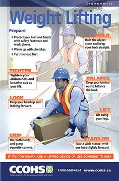 Visually remind workers about how to correctly lift objects in the workplace. Download this poster for free from: http://www.ccohs.ca/products/posters/weight_lifting.html or buy full-colour copies for only $6 each.
