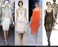 Skirts are knee length and dresses are loose and flowy with bare shoulders.