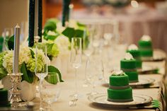 Emerald Green and White Wedding Reception Table Decorations/ Settings