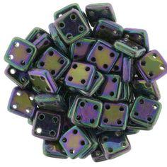 Four Hole Czech Glass QuadraTile Beads in Purple Iris