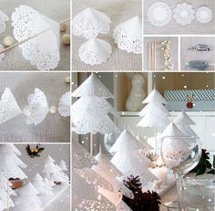 fabriquer un sapin de Noël original en napperons dentelle en papier